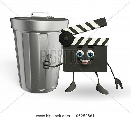 Clapper Board Character With Dustbin
