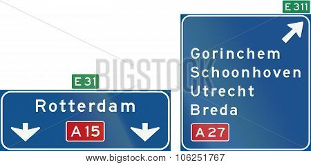 Netherlands Road Sign K4: High Level Motorway Information Sign Showing Lane Instructions