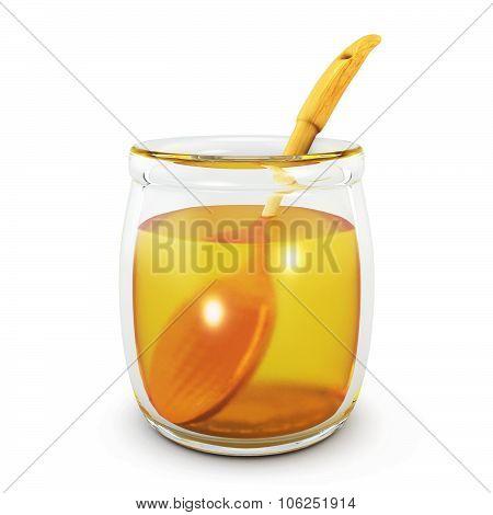 Wooden Spoon In An Open Jar Of Honey. 3D.
