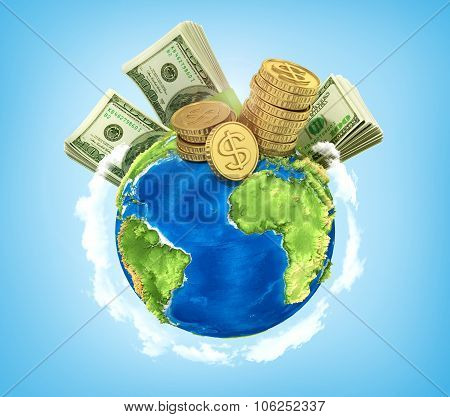 Concept Of World Money. Money On The Planet On A Blue Background.