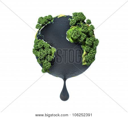 Concept Of Squeezing The Resources Of The Planet. Ecology. .planet Earth With Oil In Ocean.
