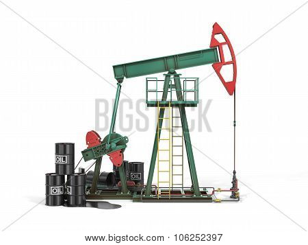 Oil Pump With Oil Cans 3D. Black Gold.