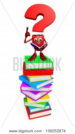 Question Mark Character With Books Pile