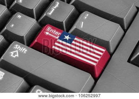 Enter Button With Liberia Flag