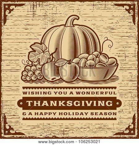 Vintage Thanksgiving Card Brown, Monochrome editable vector illustration.