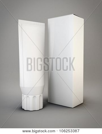 Templates Packing White Tubes And Package For Cosmetics. 3D.