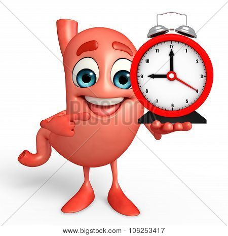 Cartoon Character Of Stomach With Table Clock