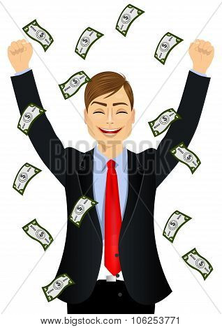 businessman happy seeing raining money bills