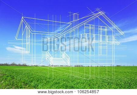 New house project on nature background, close up