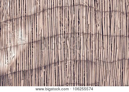 Texture Old Reed Curtain Of Brown Color