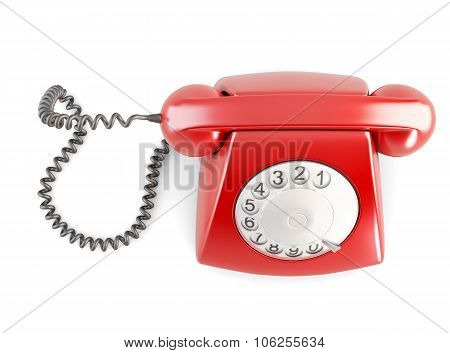 Red Rotary Vintage Telephone. Top View. 3D Illustration.
