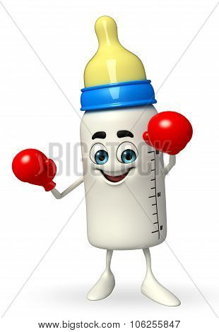 Baby Bottle Character With Boxing Gloves