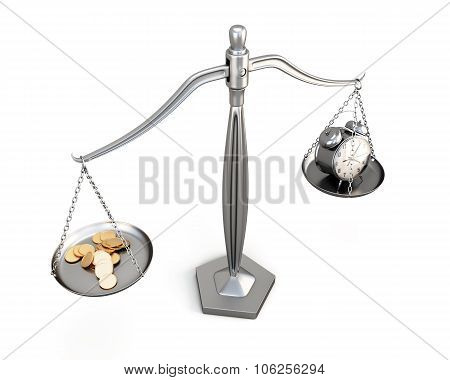 Watch And Money On Scales On A White. 3D.