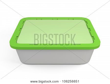 Plastic Container For Fast Food With Green Cap