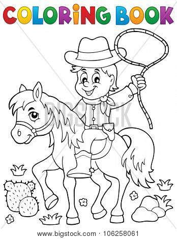 Coloring book cowboy on horse theme 1 - eps10 vector illustration.