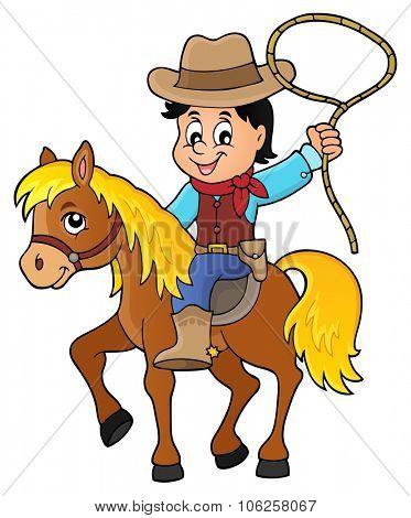 Cowboy on horse theme image 1 - eps10 vector illustration.