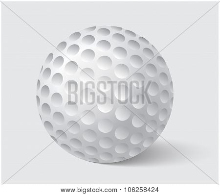 Golfball Realistic Vector. Image Of Single Golf Equipment, Ball Illustration Isolated On Grey Backgr