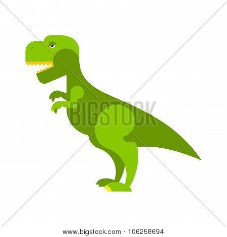 Dinosaur Tyrannosaurus. Angry Ancient Predator. Big Reptile Jurassic Period. Prehistoric Green Evil