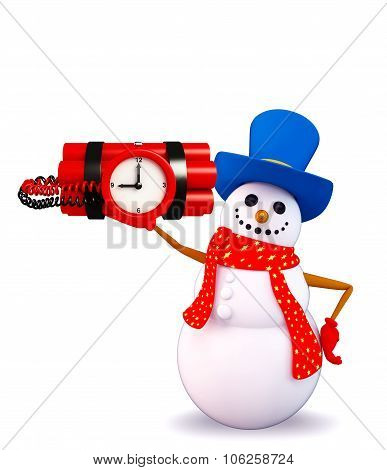Snowman Character With Time Bomb