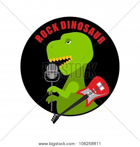 Emblem Of  Rock Dinosaur. Logo For Old Fans Of Rock Music. T-rex With Guitar Sings Song Into Microph