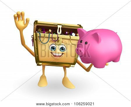 Treasure Box Character With Piggy Bank