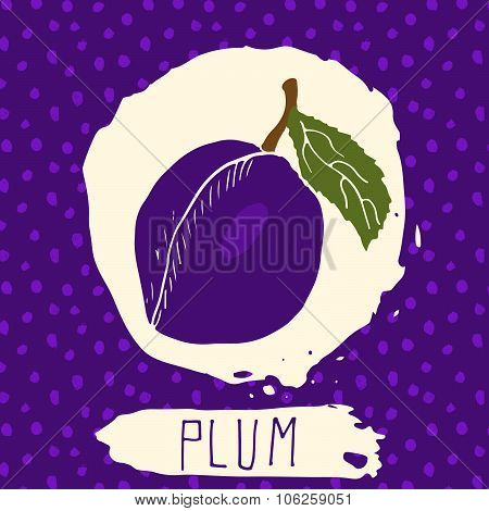 Plum Hand Drawn Sketched Fruit With Leaf On Background With Dots Pattern. Doodle Vector Plum For Log