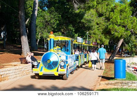 Tourist Train On The Coastline  In Porec, Istria, Croatia