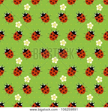 ladybugs with flowers seamless patter