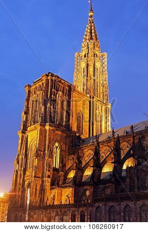 Strasbourg Minster At Sunset