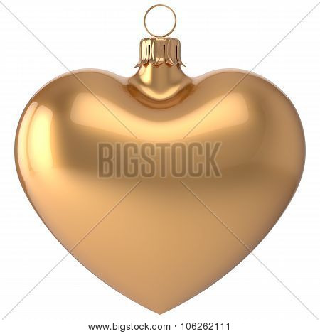 Christmas Ball Heart New Year's Eve Bauble Decoration Golden