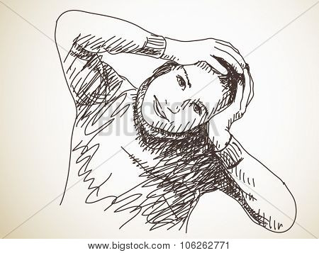 Teenager girl holding her head, Vector sketch, Hand drawn illustration