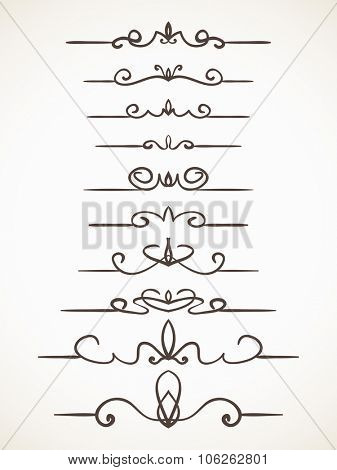 Hand drawn decorative line border set, Calligraphic design element