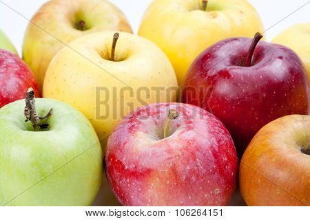 Different colors apple fruits. closeup