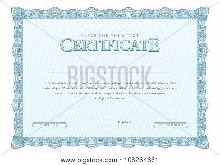 Certificate. Template Diplomas, Currency.