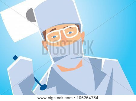 Dentist is going to treat teeth. Closeup dentist face. Dentist office. Dental care concept. Dentist on the work. Dentist cartoon character vector illustration. Dentist with special dental tools. Dental clinic concept.