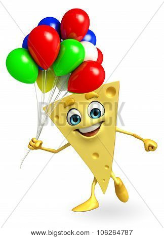 Cheese Character With Balloons