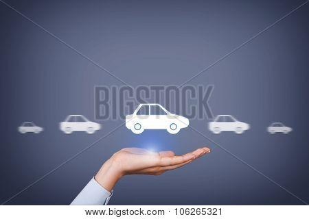 Car Insurance Concept on Human Hand