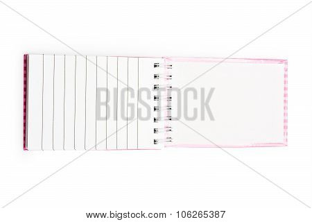 Open Pink Notebook In A Line With A Spiral