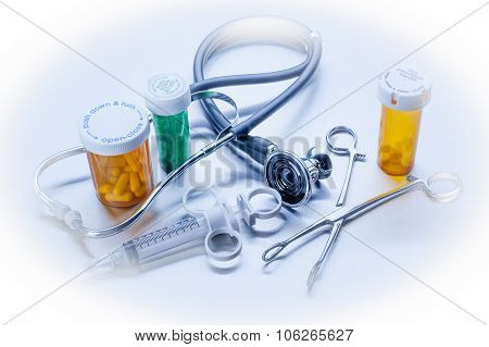 Healthcare medical objects in blue