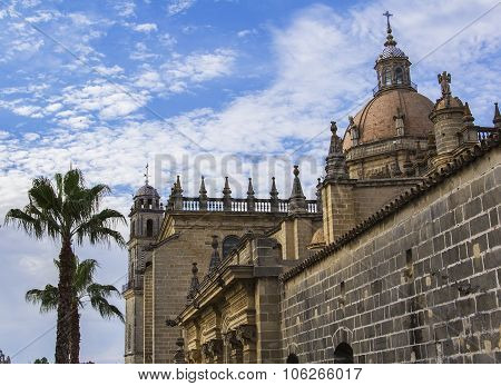background view of the cathedral in the city of Jerez de la Frontera in the province of Cadiz, Spain