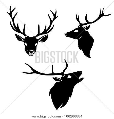 Set of graphic design deer head silhouette with horns black on white background.