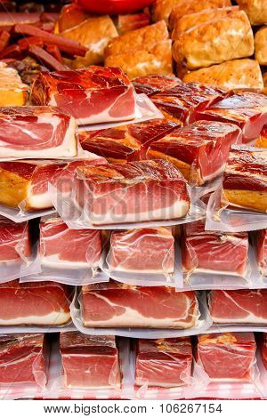 Packed Pieces Of Meat On A Market
