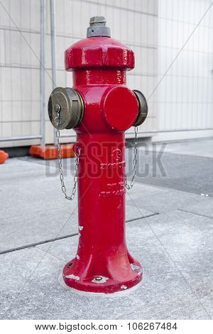 Milan, Italy Octobre 20, 2015: New Red Water Pump For Fire Fighting, Fire Hydrant In The City