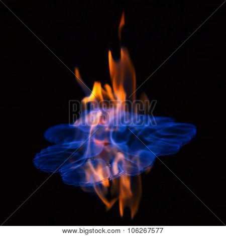 Flaming alcohol black background
