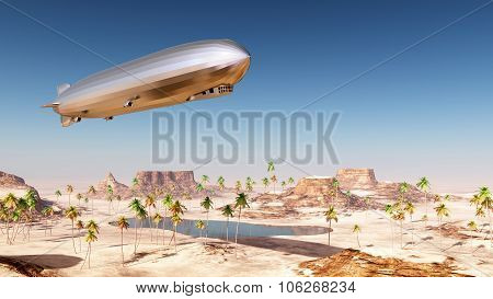 Airship over a desert landscape
