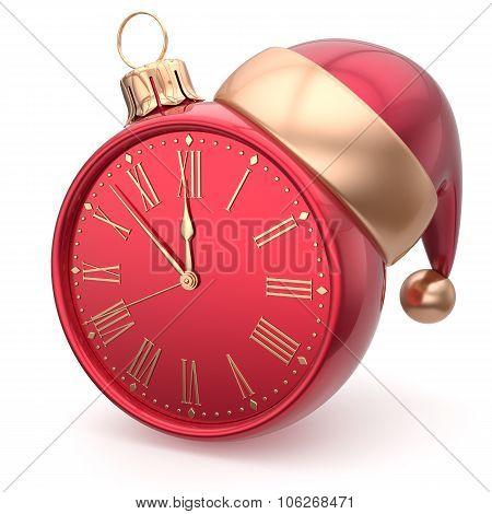 Happy New Year Clock Bauble Christmas Ball Santa Hat Timer