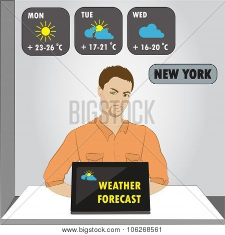 Man Sitting On Computer,tv Weather Reporter At Work