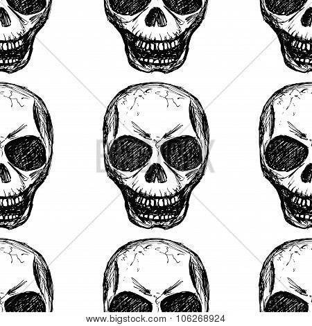 Eamless Pattern  Skull On White Background