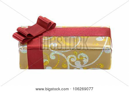 Gift With Red Ribbon And Bow Isolated On White