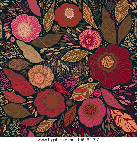 Decorative floral seamless background pattern in muted brown and pink colors